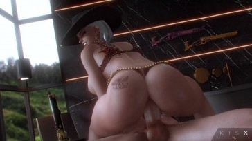 Ashe with Tattoos Dick Riding