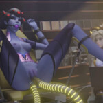 Widowmaker double penetrated by Mercy toy