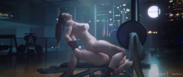 Brigitte gets creampied at the gym (Nude Version)