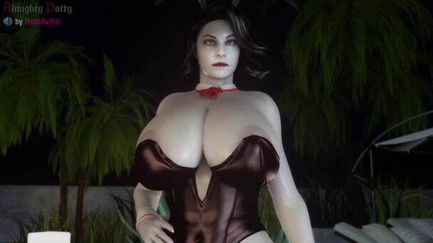 Bunny Lady Dimitrescu handjob and blowjob