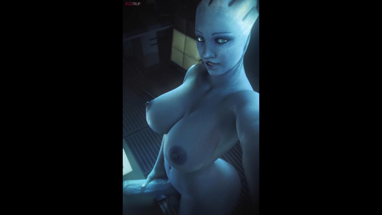 Liara T'soni showing her futa cock
